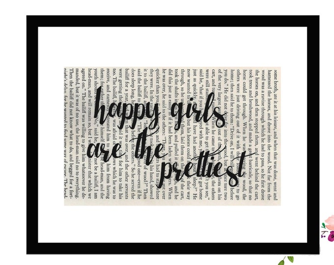 Happy Girls Are The Prettiest Audrey Hepburn Quote Vintage Book Page Box Frame or Print Farmhouse Style