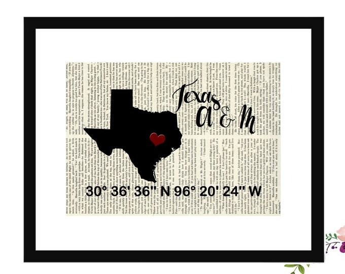 Texas A & M Custom Coordinates Vintage Book Page Art Box Frame or Print Farmhouse Style
