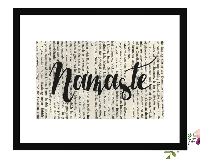 Namaste Inspirational Upcycled Vintage Book Page Art Box Frame or Print Farmhouse Style