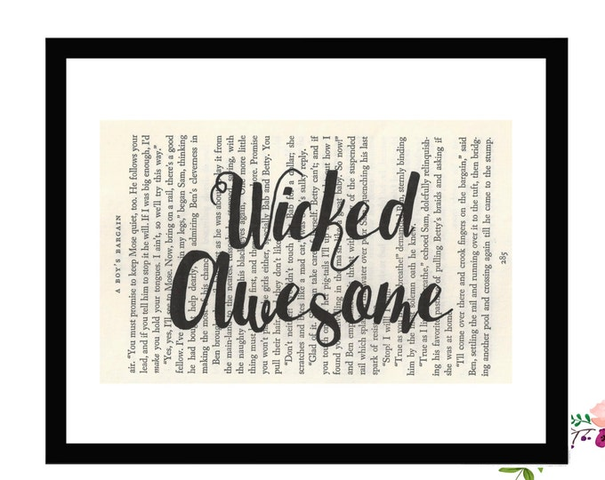 Wicked Awesome New England Boston Vintage Book Art Box Frame or Print Farmhouse Style