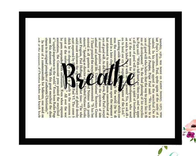 Breathe Inspirational Upcycled Vintage Book Page Art Box Frame or PrintFarmhouse Style Farmhouse Style