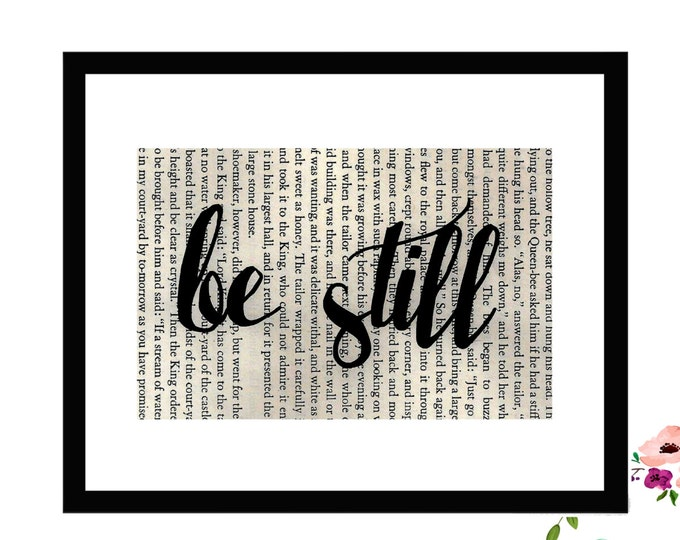 Be Still Inspirational Vintage Framed Book Page Art Box Frame or PrintFarmhouse Style Farmhouse Style