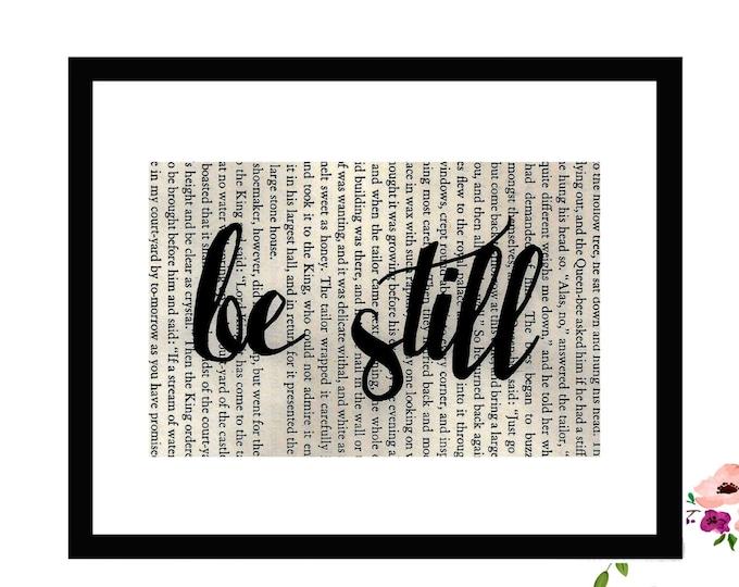 Be Still Inspirational Vintage Framed Book Page Art Box Frame or PrintFarmhouse Style Farmhouse Style