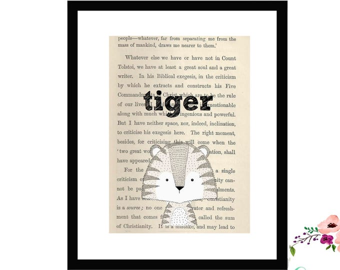 Tiger Book Art Vintage Book Art Cute Simple Box Frame or Print