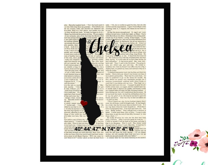 Chelsea Manhattan New York NY Custom Coordinate Book Art Box Framed or PrintFarmhouse Style Farmhouse Style