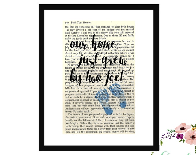 Our Home Just Grew By Two Feet Baby Boy Blue Book Page Art Box Frame or Print Vintage Book Art Nursery Room Decor Farmhouse Style