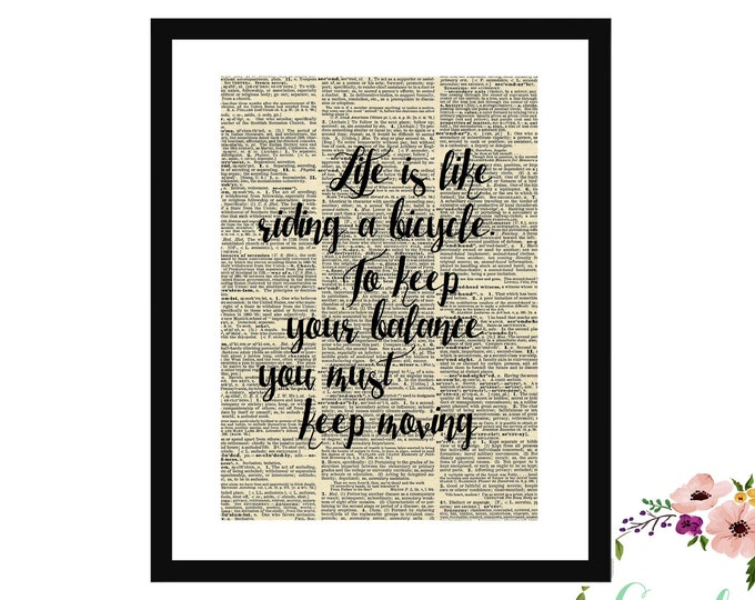 Life Is Like Riding A Bicycle Albert Einstein Quote Upcycle Vintage Book Art Sign Box Frame Or Print Farmhouse Style