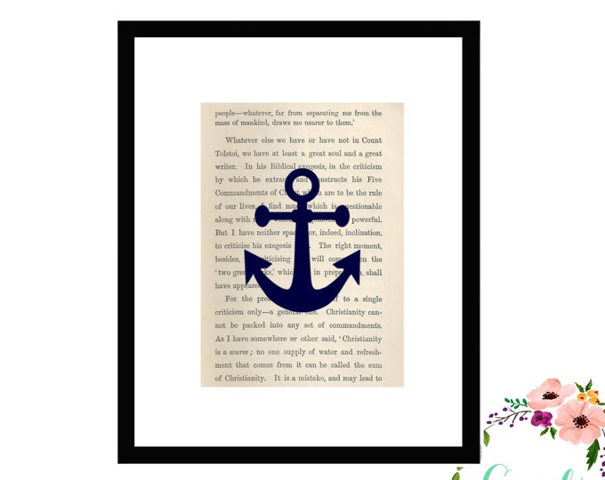 Anchor Upcycled Book Page Box Framed Art PrintFarmhouse Style Farmhouse Style