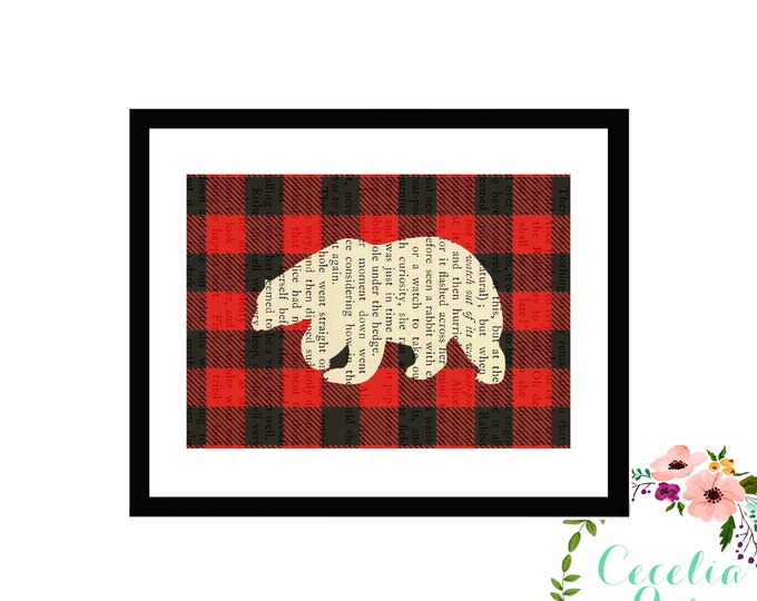 Buffalo Plaid Polar Bear Silhouette