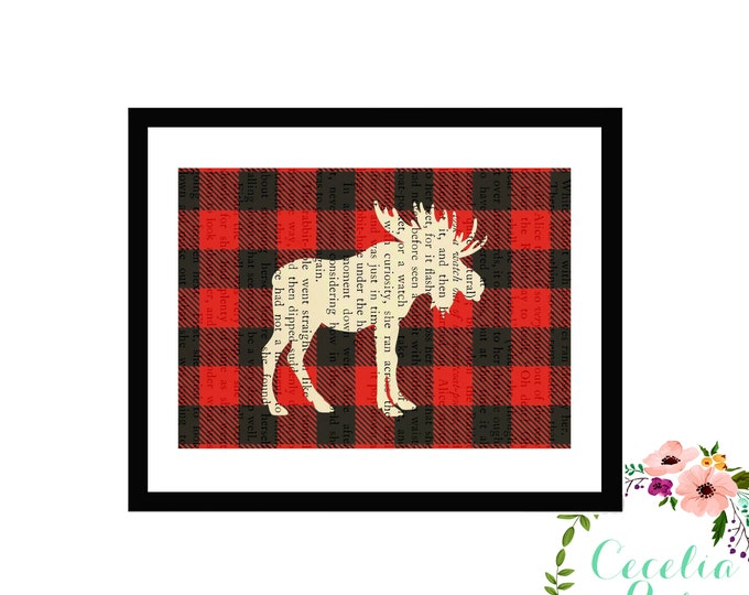 Buffalo Plaid Moose Silhouette