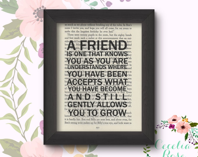 A Friend Is One That Knows You As You Are Understands Where You Have Been Accepts What You Have Become And Still Gently Allows You To Grow