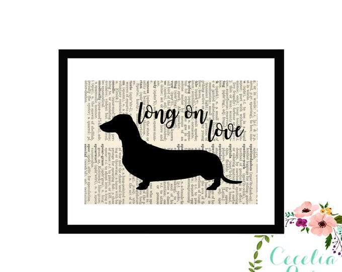 Dachahund Weiner Dog Book page Art Box Framed or PrintFarmhouse Style Farmhouse Style
