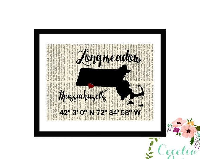 Longmeadow Massachusetts New England Custom Coordinates Latitude Longitude Book Page Art Box Framed or PrintFarmhouse Style Farmhouse Style