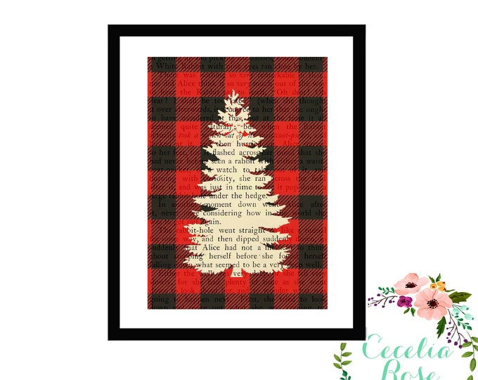 Buffalo Plaid Pine Tree Evergreen Blue Spruce Silhouette