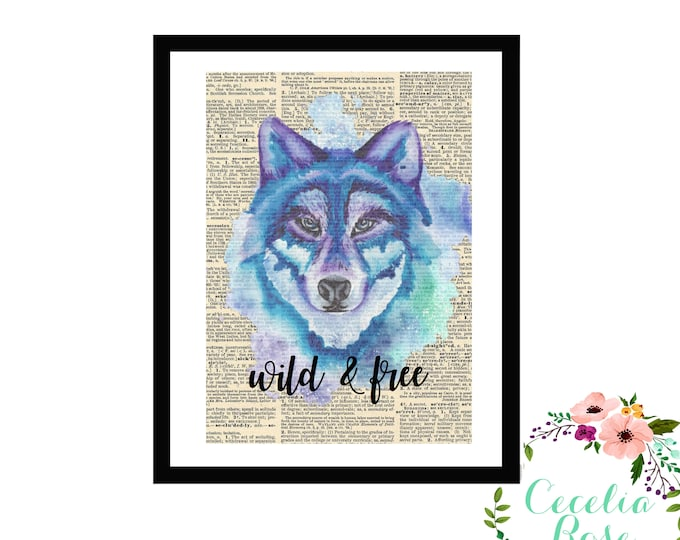 Blue and Purple Wild & Free Wolf