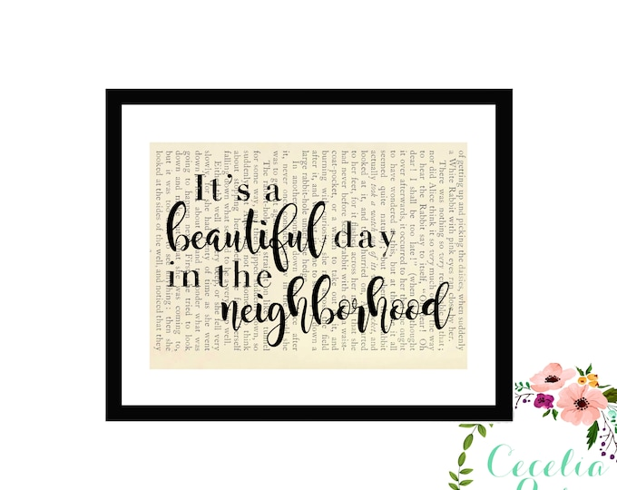 It's A Beautiful Day In The Neighborhood Mr. Rogers Vintage Book Page Art Box Frame or Print Farmhouse Style