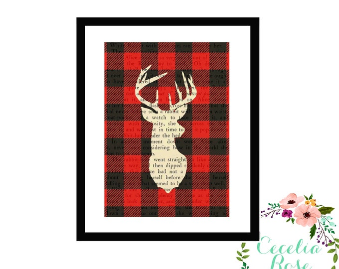 Buffalo Plaid Deer Head Silhouette