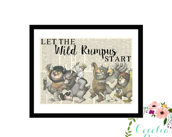 Where The Wild Things Are Let The Wild Rumpus Start Maurice Sendak Farmhouse Children's Nursery Book page Box Framed or Print