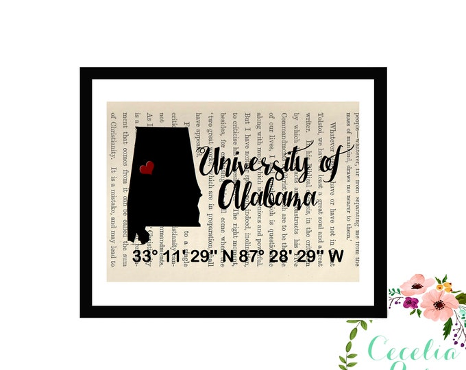 University of Alabama Crimson Tide Custom Coordinates Latitude Longitude Book Page Art Box Framed or PrintFarmhouse Style Farmhouse Style