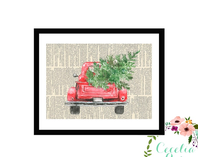 Winter Evergreen Vintage Truck
