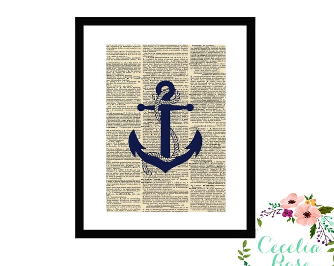 Anchor Nautical Upcycled Book Page Box Framed Art Print Farmhouse Style