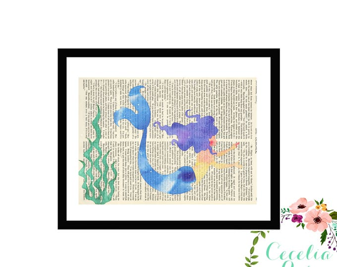 Mermaid Typography Farmhouse Vintage Book Page Art Box Framed Print