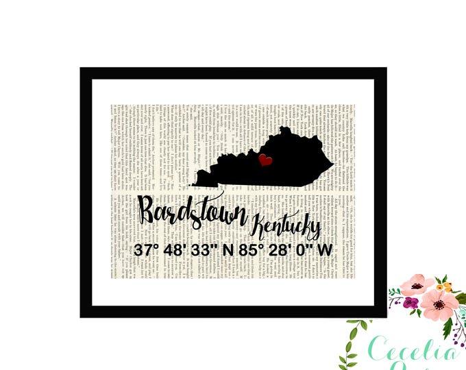 Bardstown Kentucky Custom Coordinates