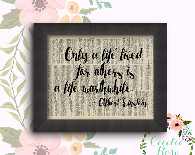 Only A Life Lived For Others Is A Life Worthwhile Vintage Book Art Framed or Print
