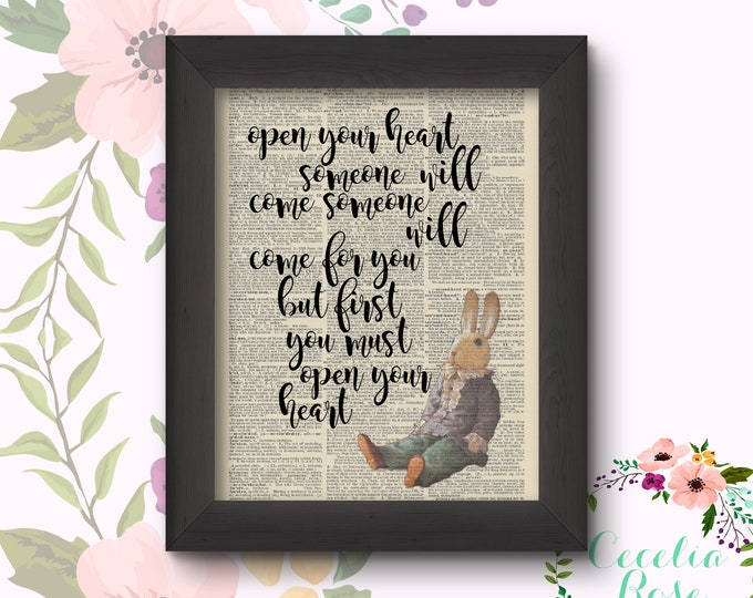 Open Your Heart Someone Will Come Vintage Book Art Framed or Print