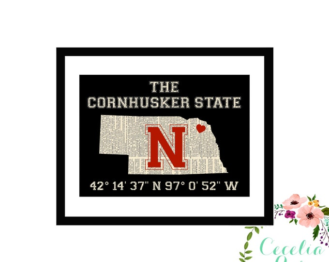 Nebraska Cornhuskers Huskers Memorial Stadium Latitude Longitude Farmhouse Literary Typography Vintage Book Gift Framed or Print
