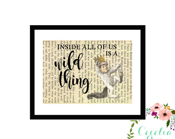 Where The Wild Things Are Inside All Of Us Is A Wild Thing Maurice Sendak Farmhouse Children's Nursery Book page Box Framed or Print