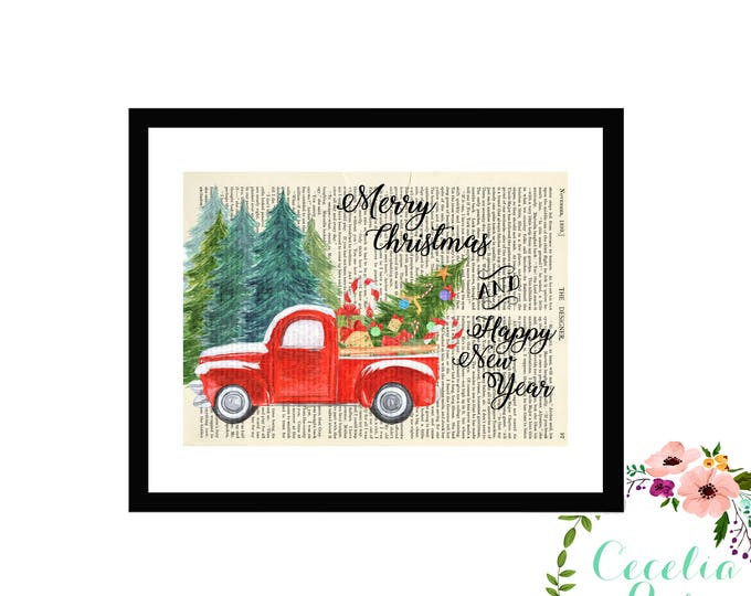 Merry Christmas and Happy New Year Watercolor Vintage Truck Farmhouse Upcycled Vintage Book Page Art Box Frame or Print