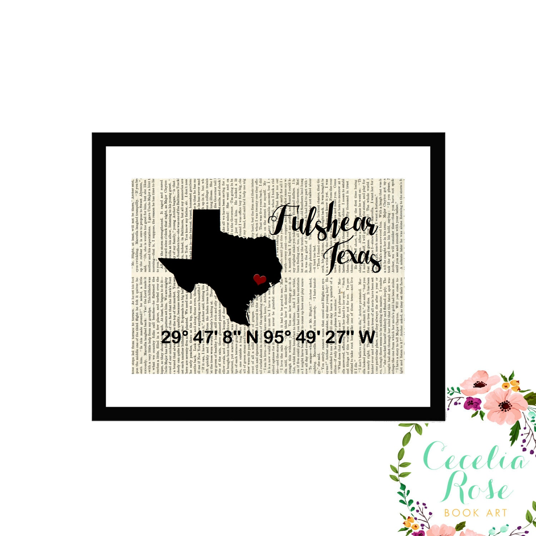 Fulshear Texas Custom Coordinates Latitude Longitude Book Page Art ...