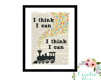 The Little Engine That Could I Think I Can Watty Piper Typography Farmhouse Vintage Book Page Art Box Frame or Print