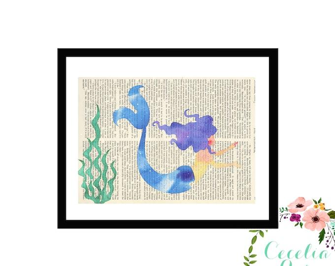 Mermaid Typography Farmhouse Vintage Book Page Art Box Framed Print