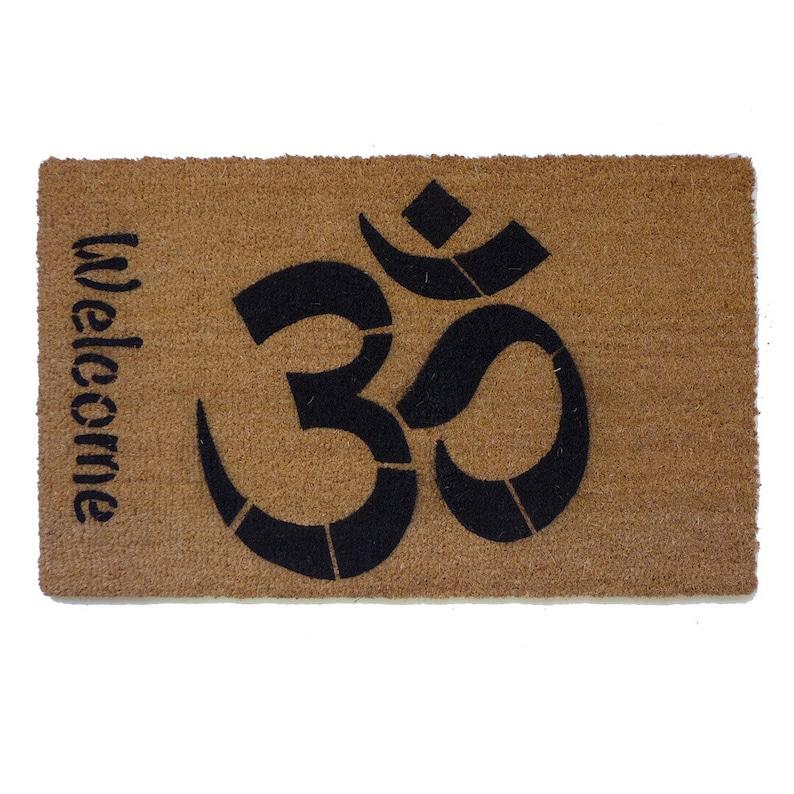 828adc919631c Welcome OM mantra doormat meditation mindful Om mani padme hum   Etsy
