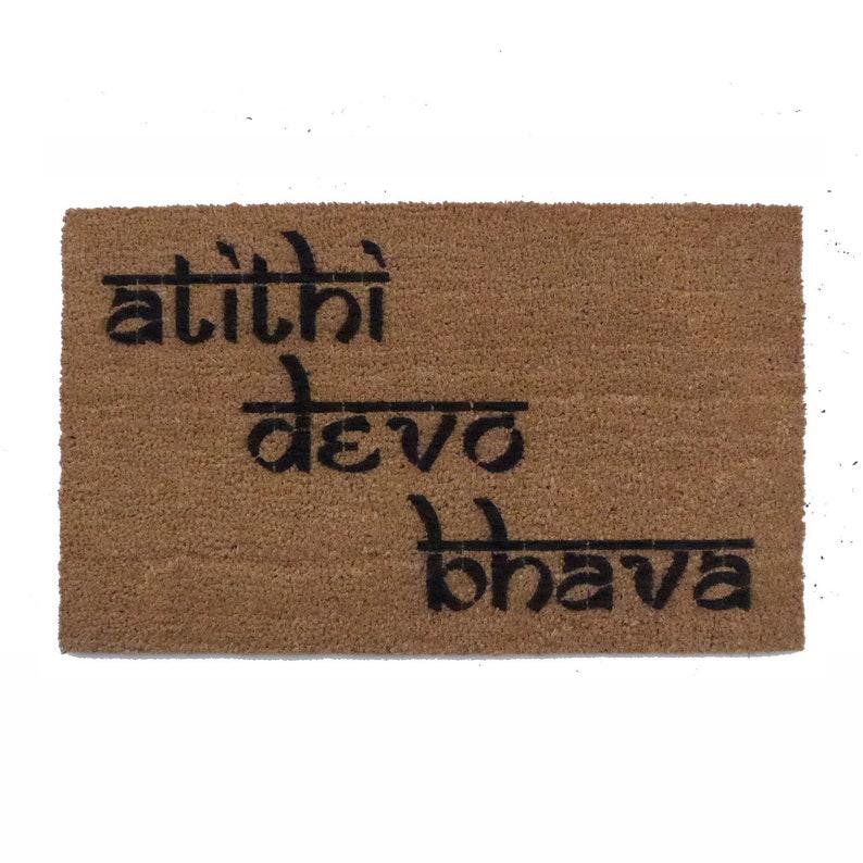 Hindu Welcome mat atithi devo bhava Guests God Sanskrit Yoga mat doormat  Indian wedding sweet door mat zen rug yoga mat namaste hospitality