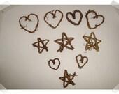 Small Tiny Vine Hearts Stars Set of 10 Craft Supplies