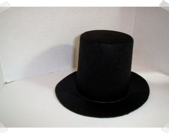 86c59d98662 Black Felt Top Hat Large Tall Size-  3 1 2
