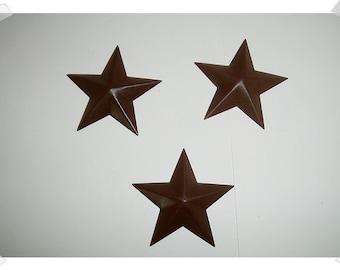 "Dark Brown Color Star Ornaments/2 & 1/8"" wide/ Set of 3/ Primitive/ Craft Supplies*"