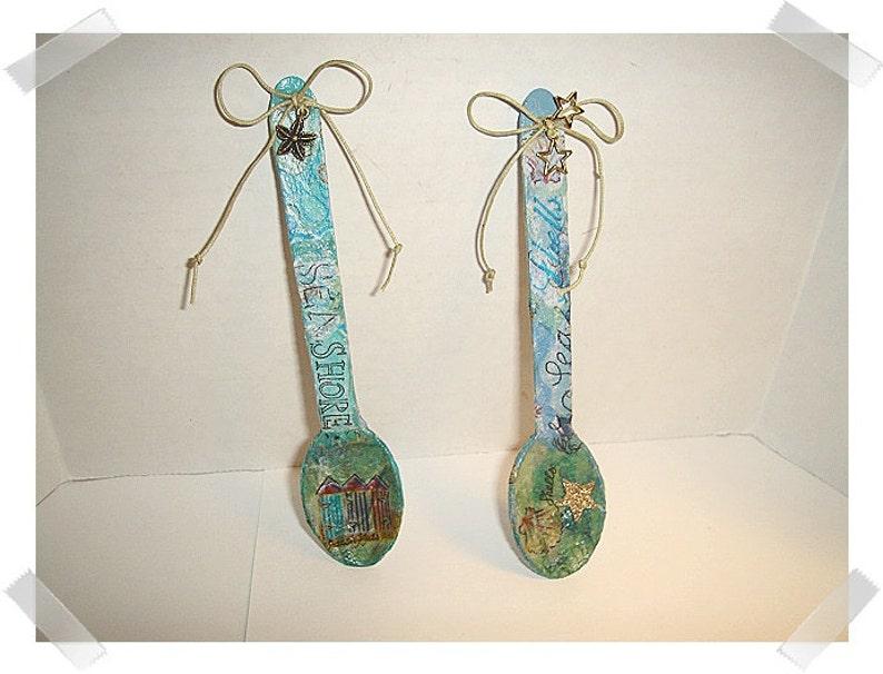 Decoupage Wooden Spoon Magnet DecorationSingle OR Set of 2Handmade**