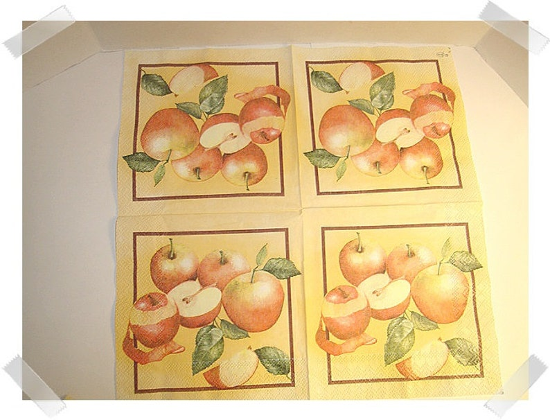 Paper Napkins for Decoupage Set of 3 Apple Print Craft Supplies**
