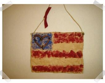 USA Flag Ornament/ Tea Dyed Muslin Fabric/Handmade/ Patriotic Decor/ Made To Order**