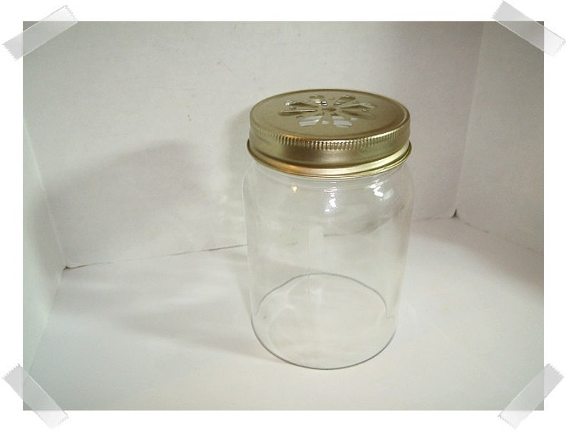Open Bottom Mason Jar & Goldtone Lid/ Home Decor /Supplies**