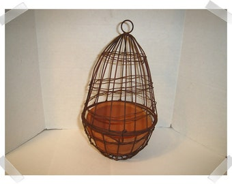 Wire Cloche Hanging Planter with Aged Finish/Home Decor/Supplies*