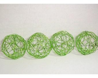 "Lime Green Wire Balls / Set of 4/ 1 & 1/2"" each/ Craft Supplies*"