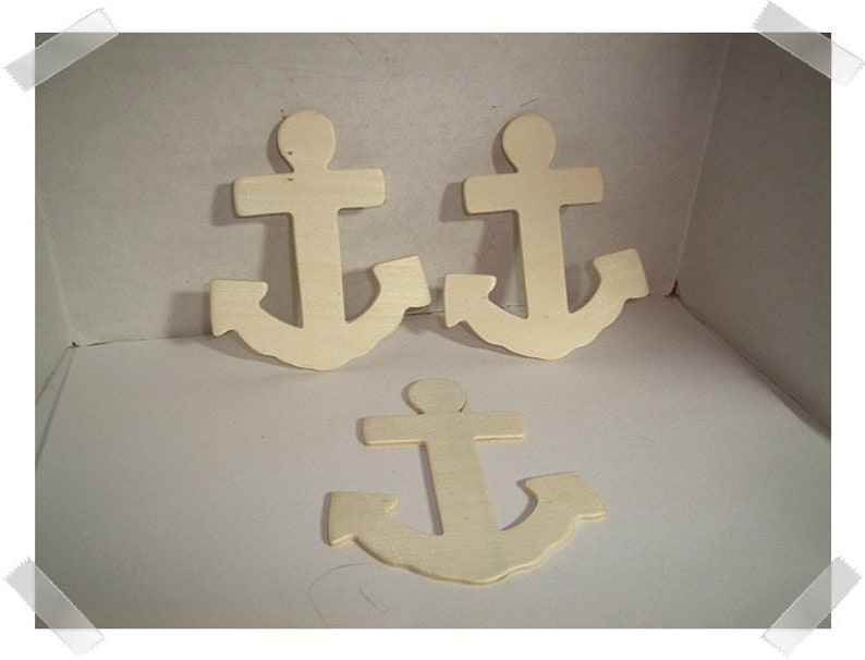 Unfinished Wooden Anchors Set of 3 4 tall Craft Supplies*