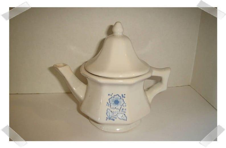 White Ceramic Avon Teapot with Blue Flower Small size Vintage*