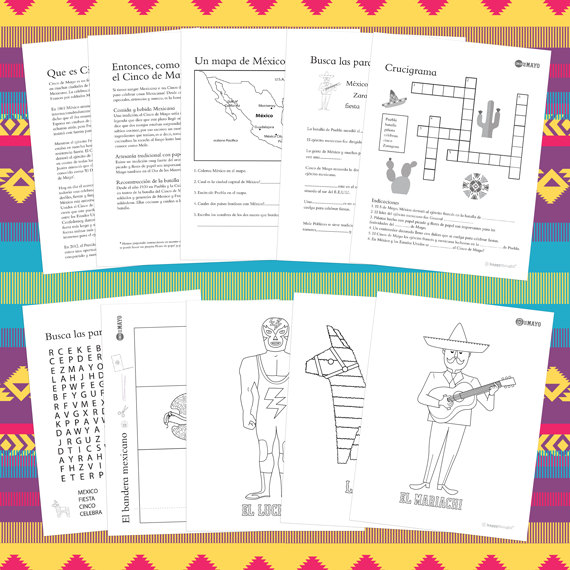 Mexico\'s Cinco de Mayo worksheets in Spanish and English.   Etsy