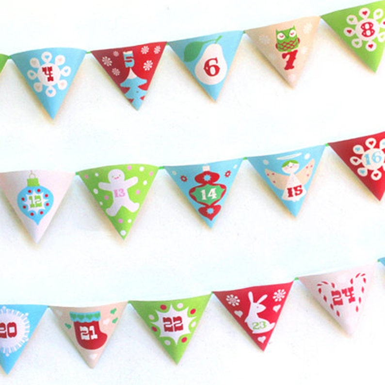 Fun Fit Calendario.Printable Christmas Advent Calendar Garland Fun Diy Pocket Calendar To Print Make Count Down To Christmas With Happythought